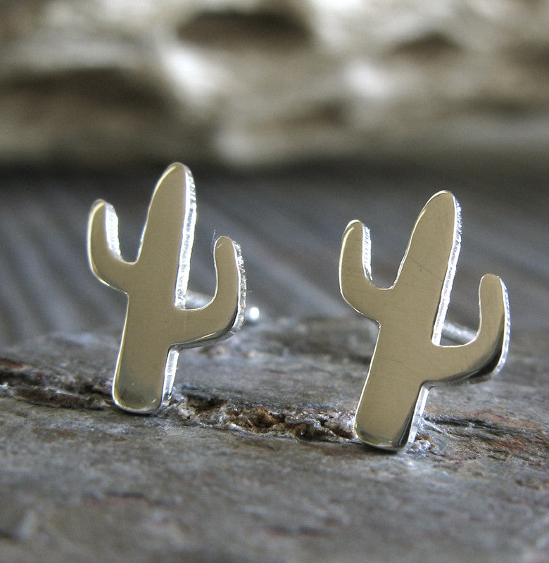 Southwestern cactus earrings in sterling silver or 14k gold