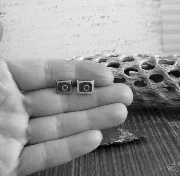Camera Stud Earrings. Sterling Silver Handmade Jewelry