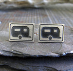 RV Camper Trailer Motorhome stud earrings. Sterling Silver