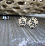 Capricorn zodiac stud earrings handmade in sterling silver