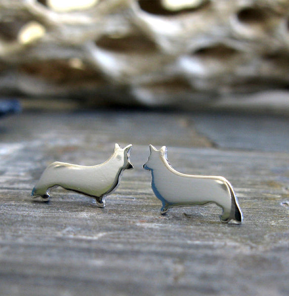 Cardigan Corgi Dog Stud Earrings
