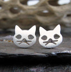 Cat Face with Whiskers Stud Earrings