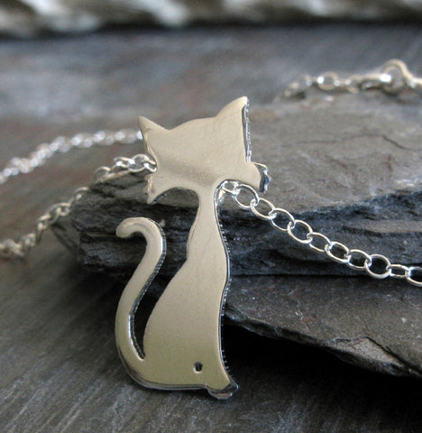 Cat with whiskers pendant necklace handmade in sterling silver