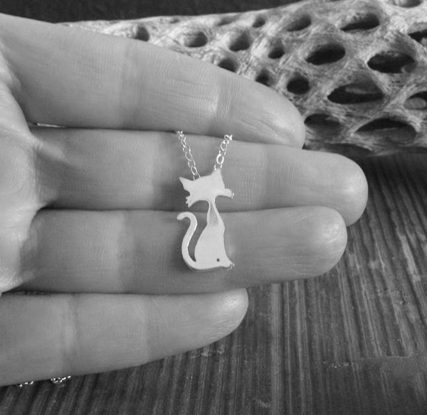Cta pendant necklace with whiskers and long curly tail handmade in sterling silver