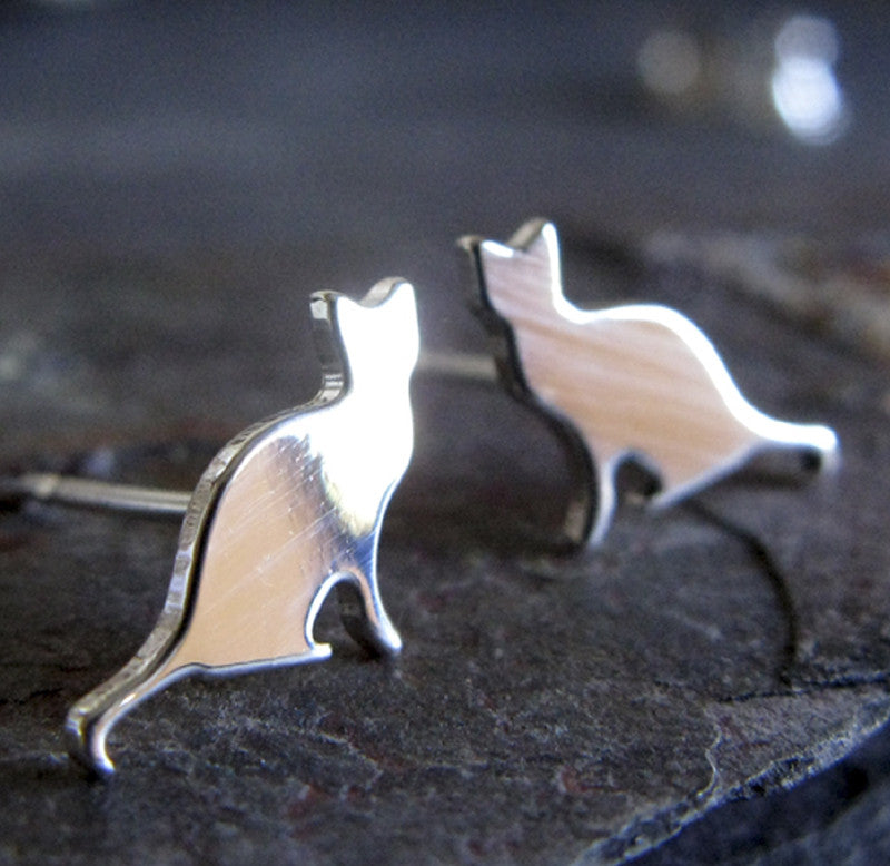 Cat Stud Earrings in Sterling Silver