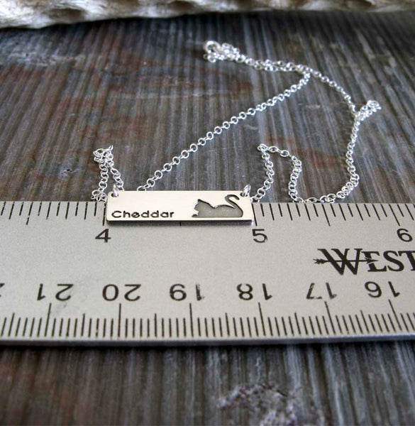 Cat Name Personalized Pendant necklace handmade in sterling silver