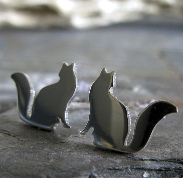 Cat Earrings with fluffly tail handmade studs in sterling silver or 14k gold