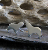 Cavalier King Charles Spaniel dog stud earrings handmade in sterling silver or 14k gold