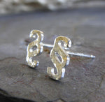 Interlocking tiny stud earrings in sterling silver or 14k gold