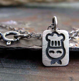 Tiny Chef pendant necklace handmade in sterling silver