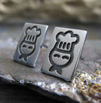 Chef jewelry. Sterling silver stud earrings handcrafted in sterling silver
