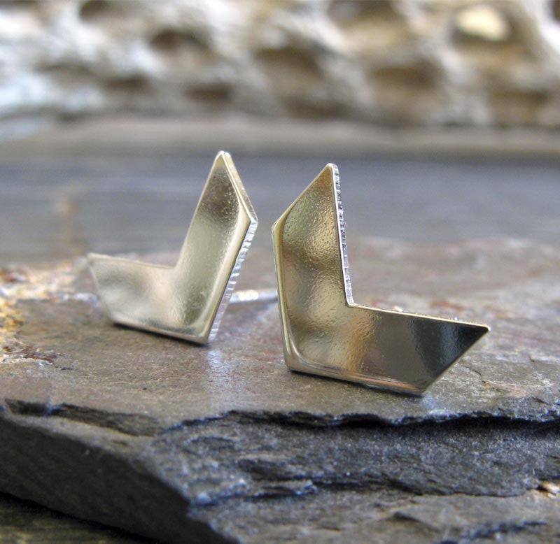 Chevron Stud Earrings in Sterling Silver or 14k Gold