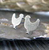 Chicken bird stud earrings handmade in sterling silver or 14k gold