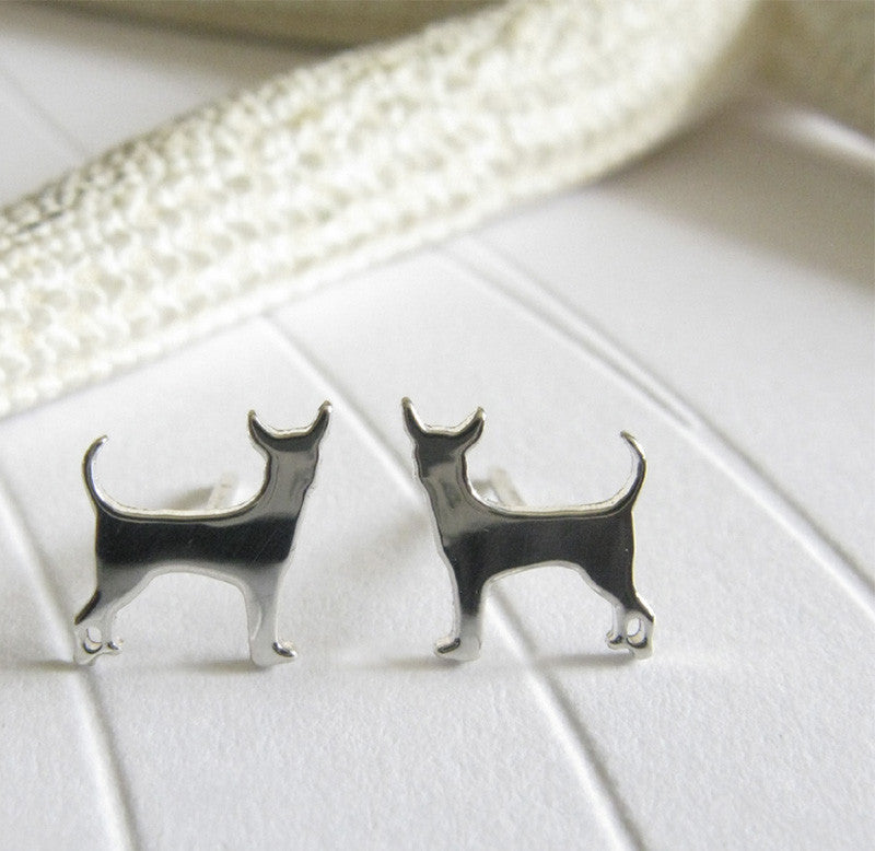 Chihuahua Dog Silhouette sterling silver stud earrings