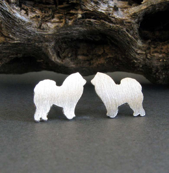 Chow Chow Dog Stud Earrings