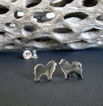 Chow Chow tiny dog stud earrings handcrafted in sterling silver or 14k gold