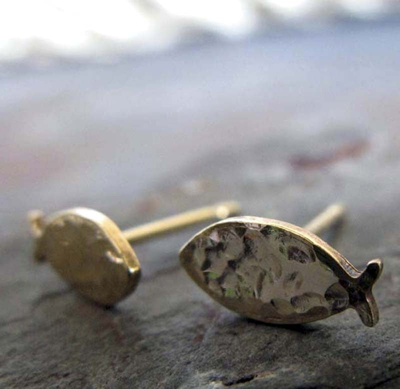 Christian Fish Gold Stud Earrings