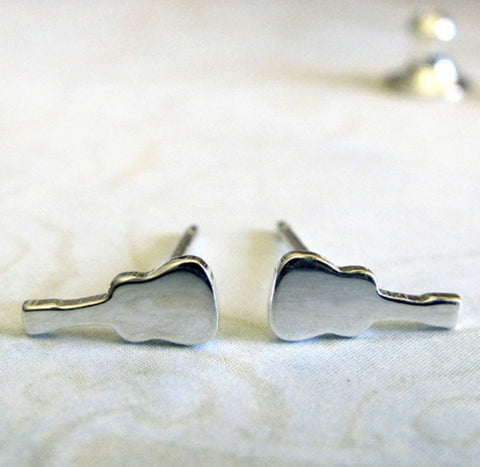 Classical Guitar Tiny Sterling Silver Stud Earrings