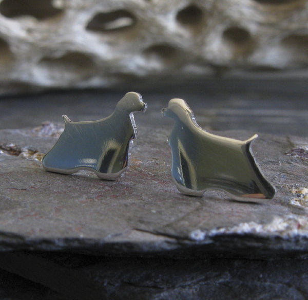 Cocker Spaniel earrings. Sterling Silver dog silhouette jewelry