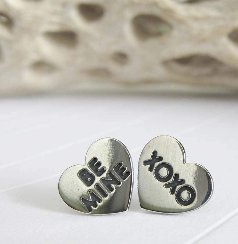 Valentines Day Heart Earrings. Handmade in sterling silver. Be Mine XOXO