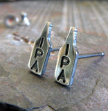 IPA craft beer stud earrings handmade from sterling silver