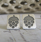 Hops IPA craft beer post earrings in sterling silver