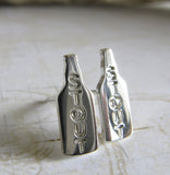 Craft Beer Womens Jewelry Stout bottles in sterling silver