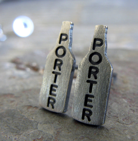 Porter craft beer stud earrings in sterling silver