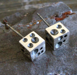 Cube Crater Stud Earrings Handcrafted from Sterling Silver