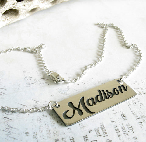 Cursive Name Necklace handmade in sterling silver