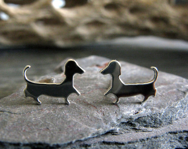 Dachshund Silhouette Dog Stud Earrings