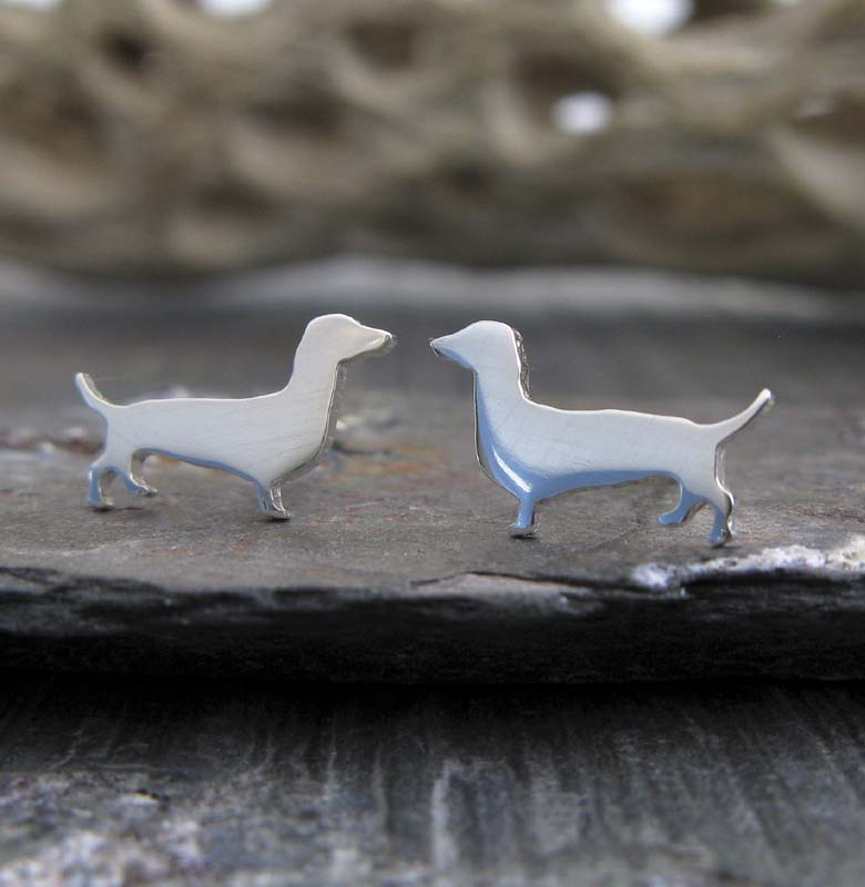 Dachshund dog tiny stud earrings