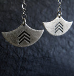 Chevron Fan Blade Dangle Earrings