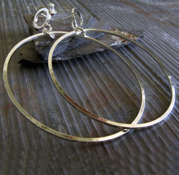 Dangling Hoop Stud Earrings in Sterling Silver
