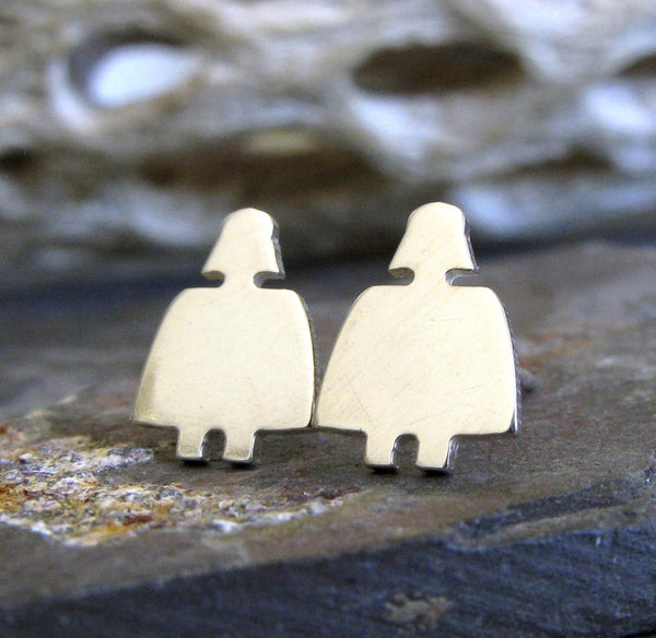 Darth Vader stud Earrings handmade from sterling silver or 14k gold