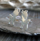 Deer fawn handmade stud earrings sterling silver or 14k gold