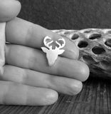 deer rack with antlers tie tack pin shown in hand black and white