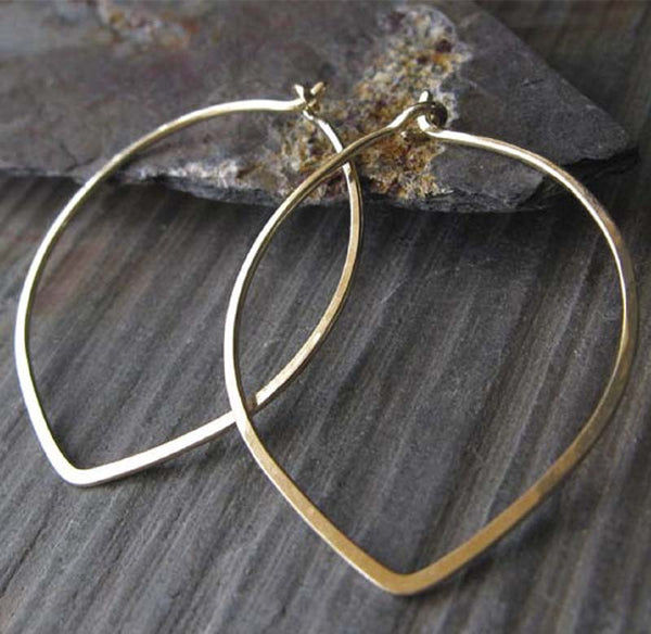Delicate Gold Leaf Shape Hoop Earrings