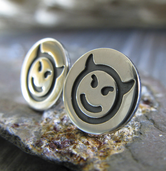 Devil Emoji stud earrings handmade in sterling silver in the USA