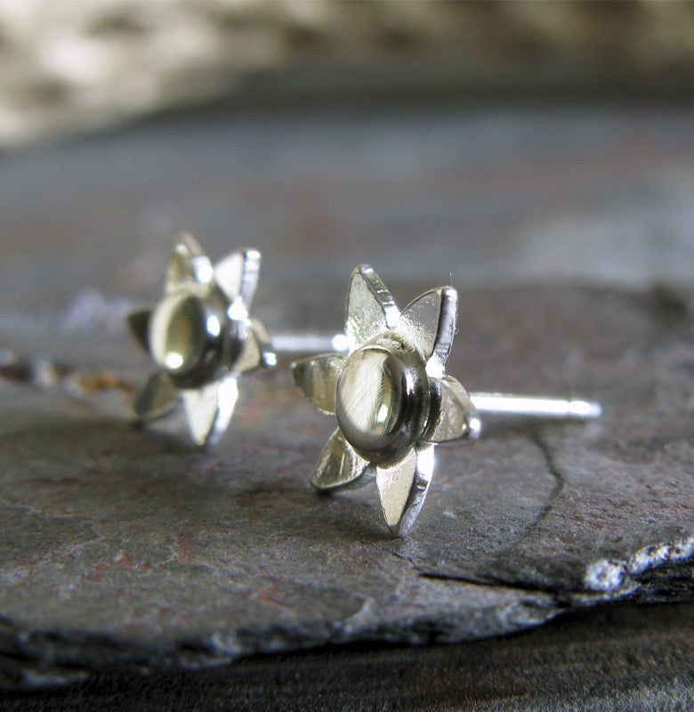 Flower stud earrings handmade in sterling silver