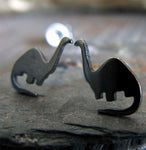 Dinosaur brontosaurus tiny stud earrings handmade in sterling silver or 14k gold