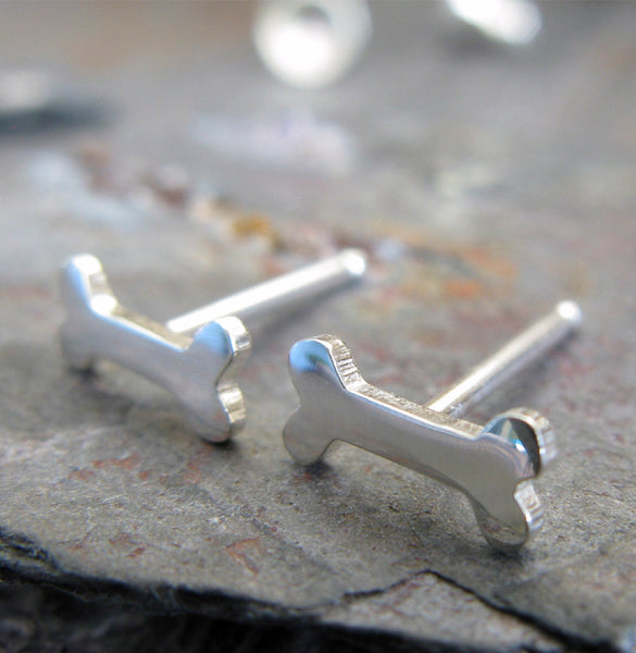 Tiny dog bone stud earrings in sterling silver or 14k gold