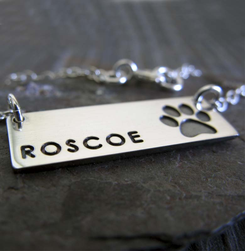 Dog Name pendant necklace personalized pet memorial jewelry