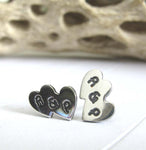 Double Heart Initial Earrings. Handmade in sterling silver or 14k gold.