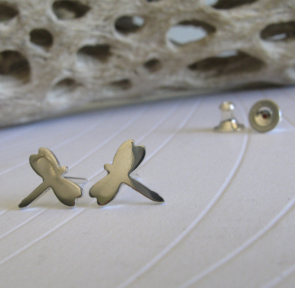 Dragonfly stud earrings. Handmade from sterling silver or 14k gold