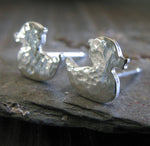 Rubber Duckie sterling silver or 14k gold earrings. Handmade in the USA.