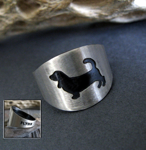 Basset Hound Sterling Silver Ring with Engraved Pet Name on Black Background with Tree Branch