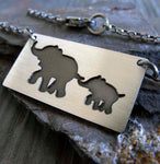 Elephant Mom and Baby Necklace