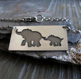 Mom and baby elephant necklace with personalized engraving