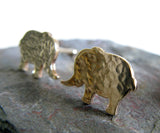 Elephant Post Earrings in 14k Gold